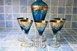 Murano Aqua Blue Wine Decanter Set, Vintage Italy Wine Glasses
