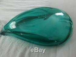 Murano Archimede Seguso Cornicopia Valva Green Glass Bowl