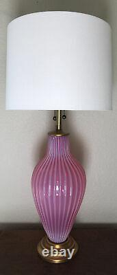 Murano Archimede Seguso Venetian Raspberry Opalescent Table Lamp Marbro WOW