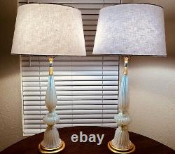 Murano Archimede Seguso White Opalescent Table Lamps for Marbro WOW
