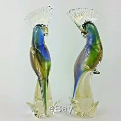 Murano Art Glass Cockatoo Parrot Birds Set of 2 Sommerso Aventurine Technique