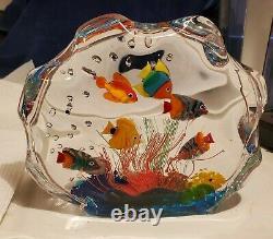 Murano Art Glass Fish Aquarium Glass Sculpture Barbini Cenedese Style