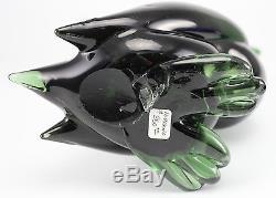 Murano Art Glass Green Duck Figurine Raised Beak Forest Green Hand Blown & Cut
