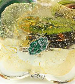 Murano Art Glass Hand Blown Green, Yellow & Gold Heron Bird with Original Label