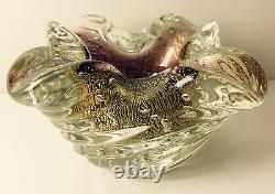 Murano Art Glass Hand Blown Ribbed Gold Leaf Folded Bowl Barovier & Toso