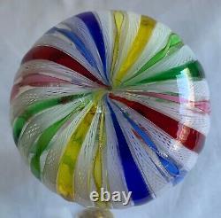 Murano Art Glass Latticino Ribbon Hand Blown Cruet Stopper Vintage