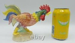 Murano Art Glass Multi Color Rooster Figurine with Gold Flecks, 5.75 x 8, Italy