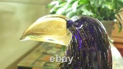 Murano Art Glass Parrot Hand Blown Sculpture 11 Venetian Gold Fleck Blue Toucan