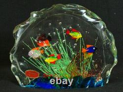 Murano Art Glass Sculture Paperweight Colorful Fish Aquarium 7.5