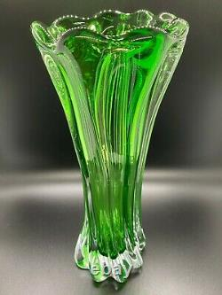 Murano Art Glass Vase Green Clear Twisted Swirl Vintage 11 RARE Collectible