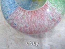 Murano Arte Lavorazione Hand Blown Art Glass Floral Vase Flower Millefiori