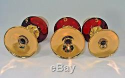 Murano Barbini Crystal 6 Wine Glasses & Decanter Red with Enamel Flowers Gold Trim
