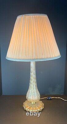 Murano Bullicante art glass lamp clear white with gold aventurine