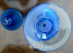 Murano Carlo Moretti Blue Satinato Vintage Glass Lidded Urn/Apothecary Jar