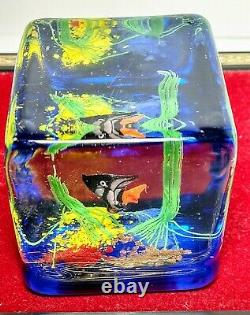 Murano Cased Art Glass Fish Aquarium Block Paperweight Mid Century