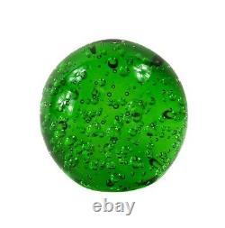 Murano Controlled Bubble Hand Blown Art Glass Ball Green Paperweight Sculpture