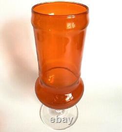 Murano Empoli Orange Glass Apothecary Candy Jar 13.5 Vtg Mid Century