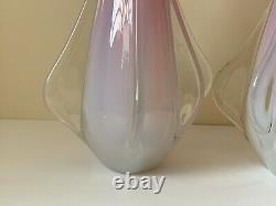 Murano Fratelli Toso Vintage Pair of Hand Blown Pink Opalescent Glass Vases
