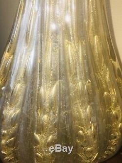 Murano Glass Barovier & Toso Lamps (Pair) Ribbed W Gold Aventurine & Bubbles WOW