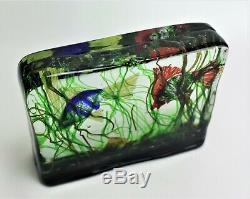 Murano Glass Cenedese Aquarium Block 2 Fish
