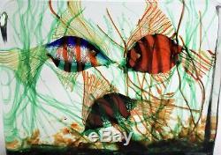 Murano Glass Cenedese Aquarium Block 3 Fish