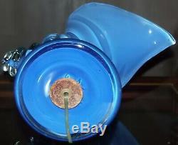 Murano Glass Conch Shell Table Lamp Light Sculpture Blue Mid Century Modern 60s
