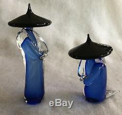 Murano Glass Formaio Italy, Set of 2 Asian Figurines Cobalt Blue Black Hat EUC