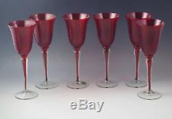 Murano Glass Italy Ruby Red Set Of 6 Goblets -sommerso Stem -venetian Glass