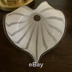 Murano Glass Mid Century Modern Calla Lily clear & white 3 way Table lamp MCM