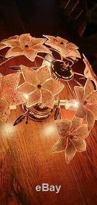 Murano Glass Pink Tulip Ceiling Light, Handblown Chandelier, Mcm, 1970s, Vintage