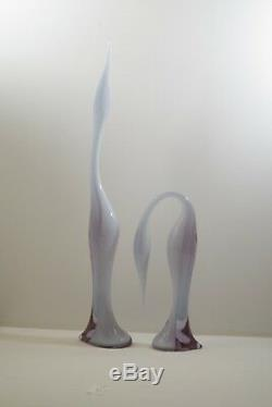 Murano Glass Renato Anatra 2 Birds Sculptures Alexandrite Neodymium 25 Signed