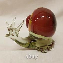 Murano Glass Snail 1960s VINTAGE Scarlet Hand Made Blown Ornament RETRO 2.6 kgs
