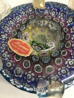 Murano Glass Turtle Millefiori Flowers Hand-blown Figure Authentic Italy 6 Long