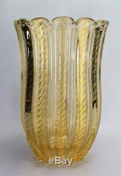 Murano Glass Vase Barovier & Toso Cordonato d'Oro Glass Vase