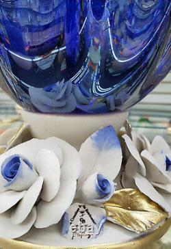 Murano Glass Vase Fruit Bowl Centerpiece & Capodimonte Porcelain Flowers Blue