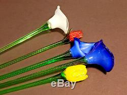 Murano Glass assorted Long Stemmed Flowers (20 inch) lot of 5