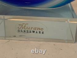 Murano Glassware Hand Blown Art Glass Sculpture Abstract Fish Blue 12 Label