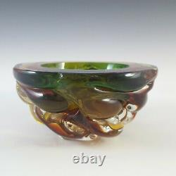 Murano Green & Amber Sommerso Glass Textured Geode Bowl