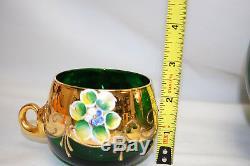Murano Green Glass Italian Punch Bowl Set Bowl Ladle 5 Cups M4433
