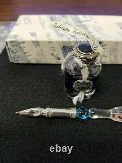 Murano Hand Blown Glass 800 Silver Fountain Ink Pen Italy Venice Writing Nib