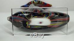 Murano Hand Blown Glass Sculpture Large Vase Art Multi Color Italy Heavy Rare