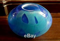 Murano Hand Blown Glass Vase Shades Of Blue