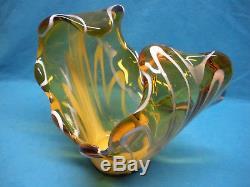 Murano Hand Blown Italian Art Glass Free Form Center Piece Bowl