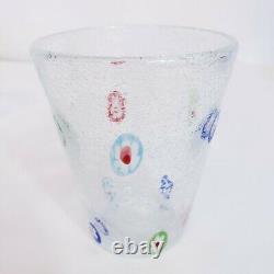 Murano Hand Blown Millefiori Bubbles Tumbler Drinking Glass Set of 4 Mint 8 oz
