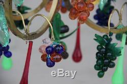 Murano Hand blown grapes flowers multi colour chandelier pendant 1960s