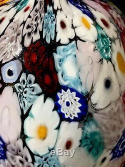 Murano Hand blown signed vase with Murrina Millefiori by Campanella