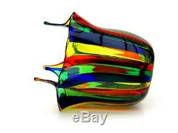 Murano Handblown Filigrana Stripes Italian art glass Vase Fulvio Bianconi