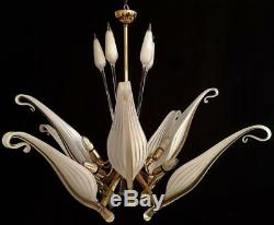 Murano Handblown Glass Franco Luce Seguso Chandelier 1960's Part Leaf