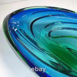 Murano Huge Vintage Bowl Green Blue Hand Blown Solid Retro Sommerso Italian 16