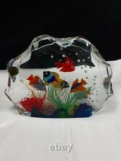 Murano Italian Art Glass 7 Fish Aquarium withLabelBarbini Cenedese Style